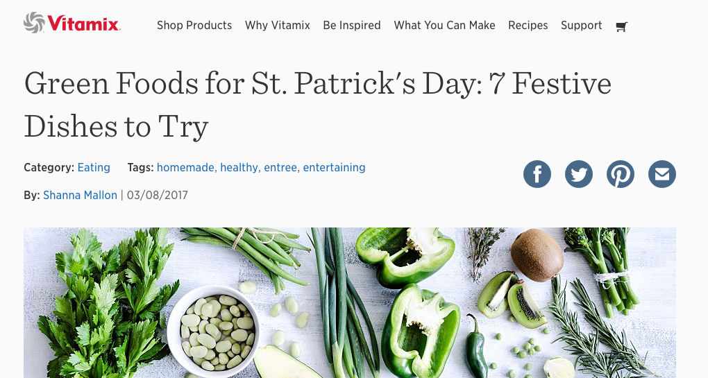 Vitamix: Green Foods for St. Patrick's Day