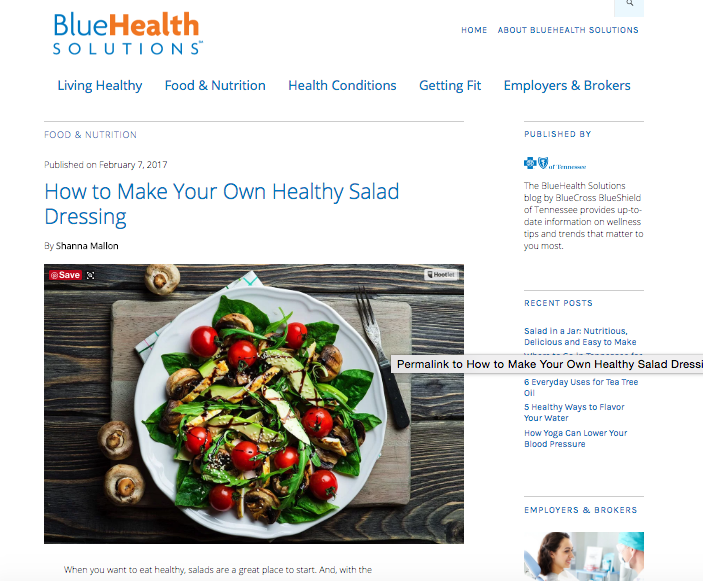 Blue Cross Blue Shield of TN: How to Make Your Own Healthy Salad Dressing