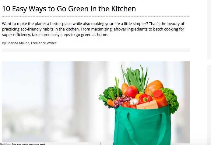 Taste of Home: 10 Easy Ways to Go Green in the Kitchen